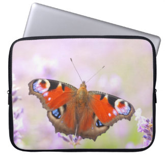 peacock butterfly over lavender laptop sleeves