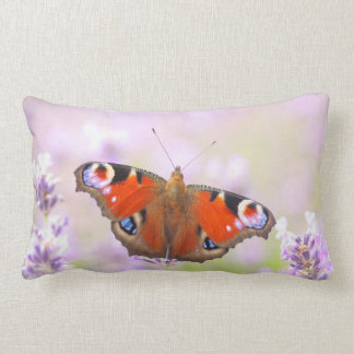 peacock butterfly over lavender throw pillow