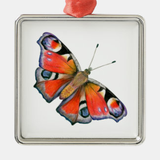 Peacock Butterfly Painting Watercolour Metal Ornament