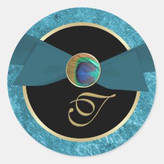 Peacock Button & Bow Monogram Envelope Sticker