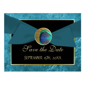 Peacock Button & Bow SAVE THE DATE Postcard-Blue Postcard