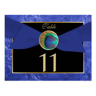 Peacock Button & Bow Table Number Postcard-Blue Postcard