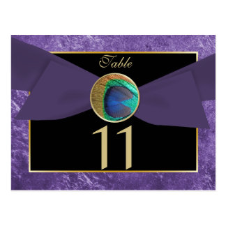 Peacock Button & Bow Table Number Postcard-Purple Postcard