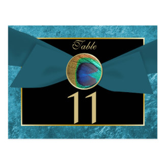 Peacock Button & Bow Table Number Postcard-SeaMist Postcard