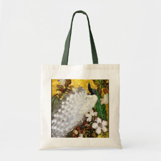 Peacock Canvas Bag:  White and Blue Peacocks Budget Tote Bag