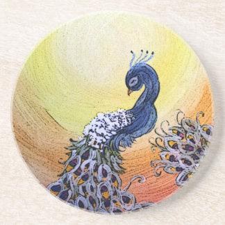 peacock cartoon style coaster