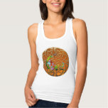 Peacock Celtic Deco Double Graphic Jeweled Tank Top