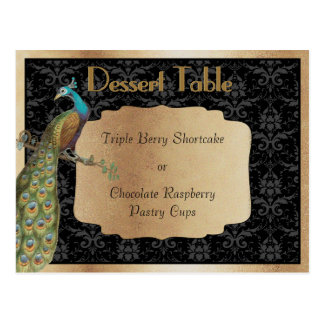 Peacock Champagne Dessert Candy Buffet Table Sign Postcard
