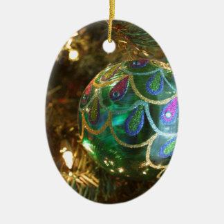 Peacock Christmas Ceramic Ornament