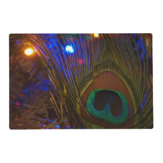 Peacock Christmas Feather Laminated Place Mat