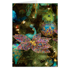 Peacock Christmas Holiday Tree Card at Zazzle