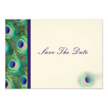 peacock cobalt blue  teal Save the date Card