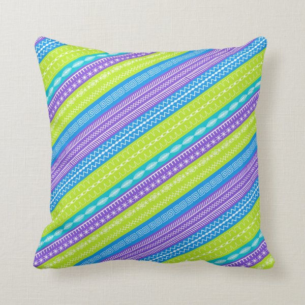 Peacock colored stripes overlaid sewing stitches throw pillow