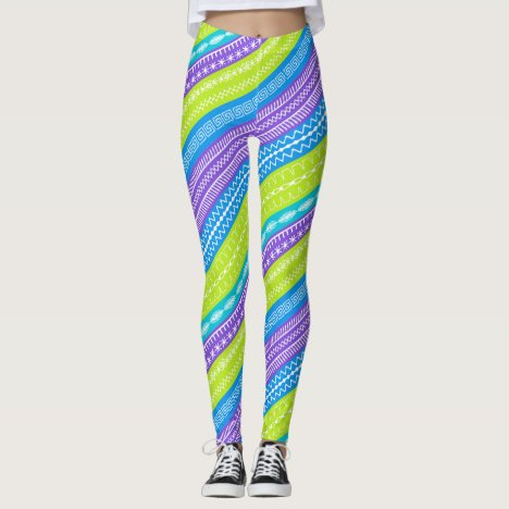 Peacock colored stripes sewing stitches overlaid leggings