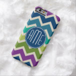 Peacock Colors Chevron Pattern Custom Monograms Barely There iPhone 6 Case