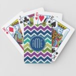 Peacock Colors Chevron Pattern Custom Monograms Bicycle Playing Cards