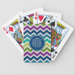 "Peacock Colors Chevron Pattern Custom Monograms Bicycle Playing Cards<br><div class=""desc"">A popular design with modern Fall colors and an area to add your monogram or name. Trendy colors and patterns for your phone. If you need to adjust the monograms,  click on the customize button and make changes.</div>"