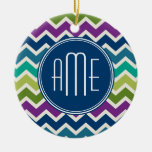 Peacock Colors Chevron Pattern Custom Monograms Double-Sided Ceramic Round Christmas Ornament