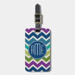 Peacock Colors Chevron Pattern Custom Monograms Tags For Luggage