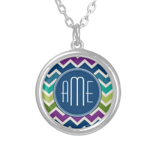 Peacock Colors Chevron Pattern Custom Monograms Silver Plated Necklace