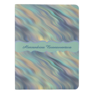 Peacock Colors Curling Wavy Striped Custom Name Extra Large Moleskine Notebook