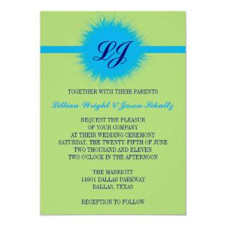 Peacock colors feather monogram wedding invitation