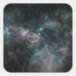 Peacock colors fractals pegatina cuadrada