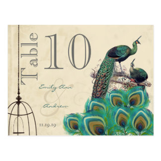 Peacock Colors Paisley Wedding Table Number Postcards