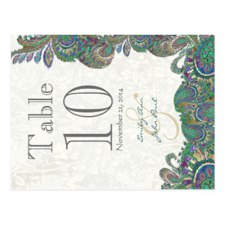 Peacock Colors Paisley Wedding Table Number Postcard