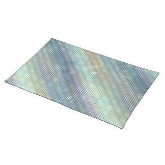 Peacock Colors Pale Stripes Cloth Placemat