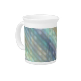 Peacock Colors Pale Stripes Creamer Pitcher