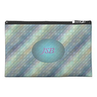 Peacock Colors Pale Stripes Customizable Initials Travel Accessory Bag