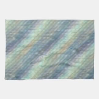 Peacock Colors Pale Stripes Kitchen Towels