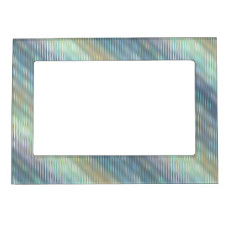 Peacock Colors Pale Stripes Magnetic Photo Frame