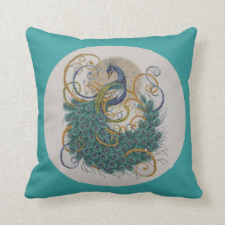 Peacock Crosstitch Swirl Square Throw Pillow
