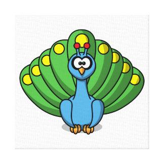 Peacock Cute Cartoon Canvas Print