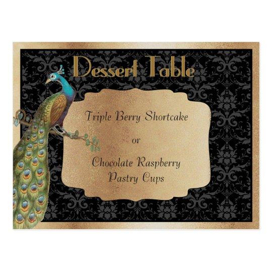 Peacock Dark Gold Dessert Candy Buffet Table Sign Postcard