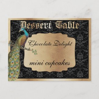 Peacock Dark Gold Dessert Candy Table Sign Postcards