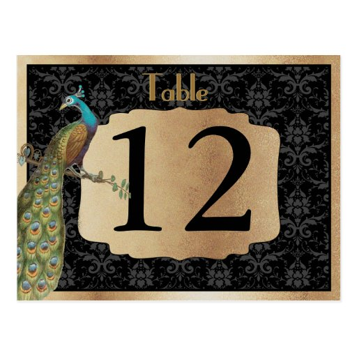 Peacock Dark Gold Dessert Candy Table Sign Postcard