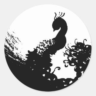 Peacock Darkly Classic Round Sticker