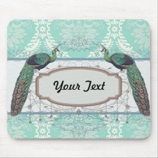 peacock design and aqua blue damask design mouse pad