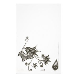 Peacock Design Art Black and White Stationery