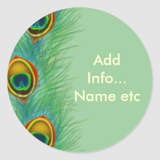 Peacock Design Personalized Gifts Classic Round Sticker