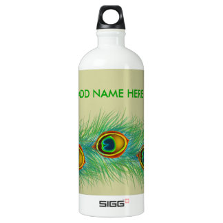 Peacock Design Personalized Water Bottle