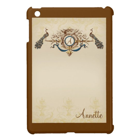 Peacock Design with tan and blue accents Cover For The iPad Mini