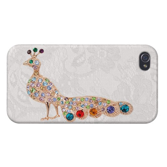 Peacock Diamond Jewels & Paisley Lace Photo Covers For iPhone 4