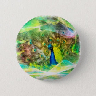 Peacock Digital Painting Button