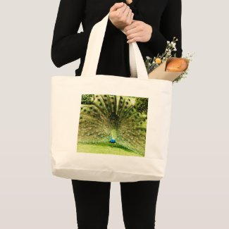 Peacock Display Colours Large Tote Bag