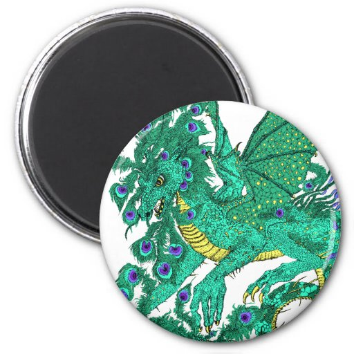 Peacock Dragon 2 Inch Round Magnet