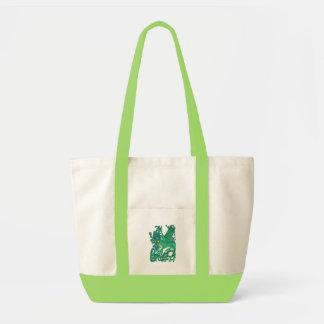 Peacock Dragon Tote Bags
